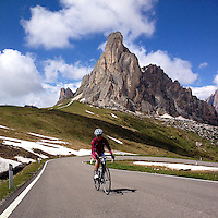 Ascending Passo Giau, in the heart of the Dolomites, Südtirol, Italy, with the Gusela in the background.