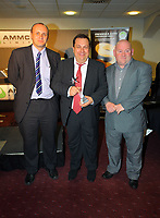 Pictured: Announcer Kevin Johns receiving his Lifetime Achievement Award by Phil Sumbler (L) and Huw Cooze (R). Thursday 10 May 2012<br />