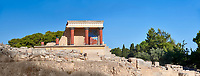 Panoroana of Minoan of the North Entrance Propylaeum with its painted charging  bull releif,  Knossos Palace archaeological site, Crete