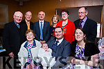 4 generations and over 100 people attended the christening party of baby Ellen Mary Lenihan in Keanes Bar in Curraheen on Sunday last: <br /> Seated from left to right, Mary Brick, baby Ellen Mary Lenihan and parents Mark and Davina Lenihan. <br /> Back row: Fr Garoid Walsh, John McMullin, Mossy and Noreen Cremin and Ellen and Pat Lenihan.
