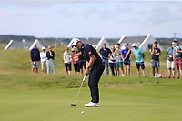 Paul Dunne (IRL) putts on the 14th green during Thursday's Round 1 of the Dubai Duty Free Irish Open 2019, held at Lahinch Golf Club, Lahinch, Ireland. 4th July 2019.<br /> Picture: Eoin Clarke | Golffile<br /> <br /> <br /> All photos usage must carry mandatory copyright credit (© Golffile | Eoin Clarke)