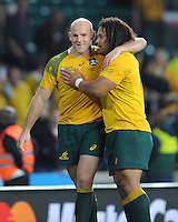 Stephen Moore and Tatafu Polota-Nau of Australia during Match 35 of the Rugby World Cup 2015 between Australia and Wales - 10/10/2015 - Twickenham Stadium, London<br /> Mandatory Credit: Rob Munro/Stewart Communications