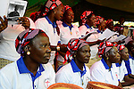 BURKINA FASO , Koudougou, catholic church, holy mass at cathedral, women choir