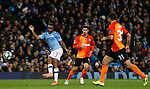 Raheem Sterling of Manchester City shoots at the Shakhtar Donetsk  goal during the UEFA Champions League match at the Etihad Stadium, Manchester. Picture date: 26th November 2019. Picture credit should read: Darren Staples/Sportimage