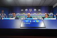 VOETBAL: HEERENVEEN: Abe Lenstra Stadion 01-11-2015, SC Heerenveen - SC Cambuur, uitslag 2-0, Trainer/coaches, Foppe de Haan en Henk de Jong, ©foto Martin de Jong