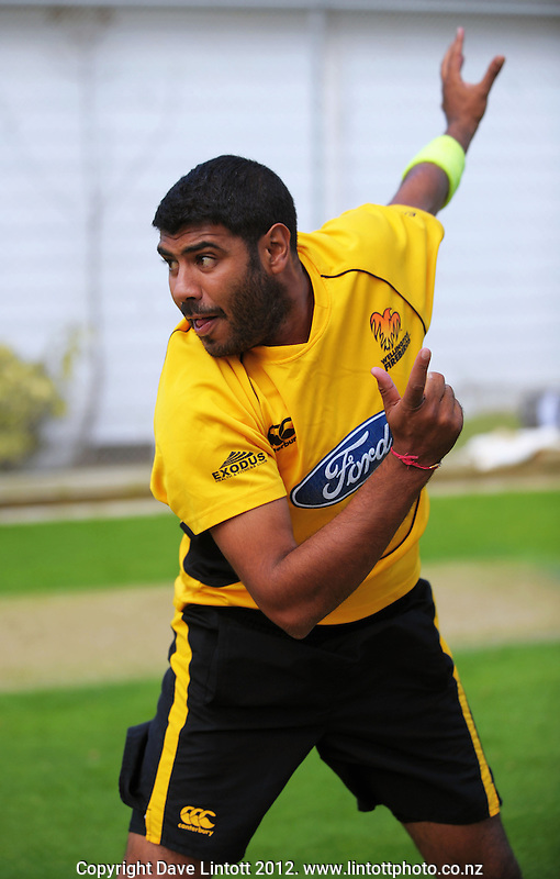 Jeetan Patel in action during the Wellington Firebirds training session at Hawkins Basin Reserve, Wellington, New Zealand on Tuesday, 2 October 2012. Photo: Dave Lintott / lintottphoto.co.nz