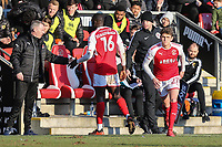 Toumani Diagourage of Fleetwood Town (16) is replaced by Harrison Biggins of Fleetwood Town during the Sky Bet League 1 match between Fleetwood Town and MK Dons at Highbury Stadium, Fleetwood, England on 24 February 2018. Photo by David Horn / PRiME Media Images
