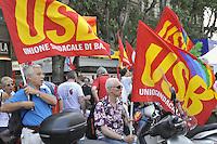 - Milan, base trade union demonstration against government economic measure, first public coming out of the new USB unions (Trade Union of Base)<br /> <br /> - Milano, manifestazione dei sindacati di base contro la manovra economica del governo, prima uscita in pubblico della nuova sigla sindacale USB (Unione Sindacale di Base)