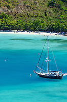 Sailing vessel anchored in<br /> Maho Bay from the over-look<br /> Virgin Islands National Park<br /> St. John, U.S. Virgin Islands