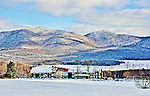 View of Mountain Top Inn and Resort in Chittenden, Vermont, and surrounding scenery in winter