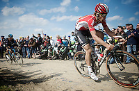 Jurgen Roelandts (BEL/Lotto-Soudal) over sector 6A: Bourghelles à Wannehain (1.1km)<br /> <br /> 113th Paris-Roubaix 2015