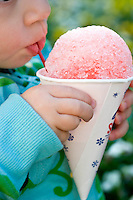 A strawberry snow cone at Pullen Park.