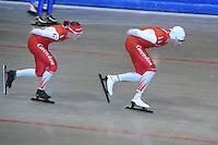 SCHAATSEN: HEERENVEEN: 17-06-2014, IJsstadion Thialf, Zomerijs training, Team Corendon, Jan Blokhuijsen, Marije Joling, ©foto Martin de Jong