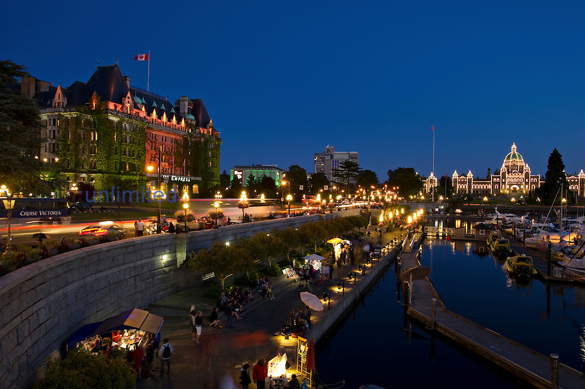 Empress Hotel and Parliament Building at night, Victoria, Vancouver Island, British Columbia, Canada