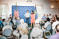 """Supriya Jolly Jindal introduces her husband Louisiana governor and Republican presidential candidate Bobby Jindal to people gathered at his """"Believe Again"""" campaign event at the Governor's Inn and Restaurant in Rochester, New Hampshire. Jindal is campaigning in New Hampshire in advance of the 2016 Republican presidential primary there."""