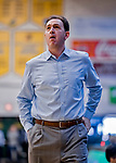 9 February 2019: University at Albany Great Dane Head Coach Will Brown looks at the scoreboard during play against the University of Vermont Catamounts at Patrick Gymnasium in Burlington, Vermont. The Catamounts defeated the Danes 67-49 in their America East matchup. Mandatory Credit: Ed Wolfstein Photo *** RAW (NEF) Image File Available ***