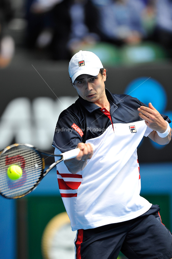 MELBOURNE, 19 JANUARY - Igor Kunitsyn (RUS) in action during his second round match against Andy Roddick (USA) on day three of the 2011 Australian Open at Melbourne Park, Australia. (Photo Sydney Low / syd-low.com)