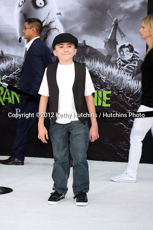"""LOS ANGELES - SEP 24:  Atticus Shaffer arrives at the """"Frankenweenie"""" Premiere at El Capitan Theater on September 24, 2012 in Los Angeles, CA"""