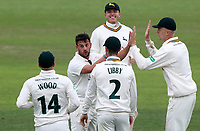 Steven Mullaney (centre) of Nottinghamshire is congratulated on taking the wicket of Nick Browne during Nottinghamshire CCC vs Essex CCC, Specsavers County Championship Division 1 Cricket at Trent Bridge on 10th September 2018