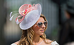 LOUISVILLE, KY - MAY 04: A woman wears a fascinator and sunglasses to block the unexpected sun on Kentucky Oaks Day at Churchill Downs on May 4, 2018 in Louisville, Kentucky. (Photo by Eric Patterson/Eclipse Sportswire/Getty Images)