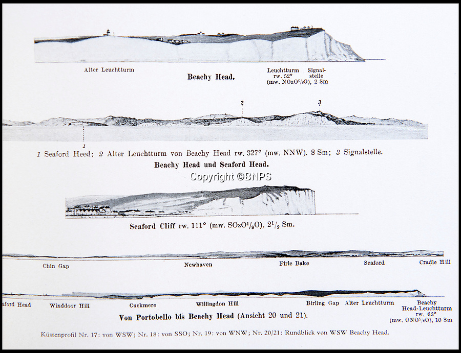 BNPS.co.uk (01202 558833)<br /> Pic: PhilYeomans/BNPS<br /> <br /> Periscope eye view of Beachy Head and the white cliffs.<br /> <br /> Chilling - Hitlers 'How to' guide to the invasion of Britain.<br /> <br /> A remarkably detailed invasion plan pack of Britain has been unearthed to reveal how our genteel seaside resorts would have been in the front line had Hitler got his way in World War Two.<br /> <br /> The Operation Sea Lion documents, which were issued to German military headquarters' on August 1, 1940, contain numerous maps and photos of every town on the south coast.<br /> <br /> They provide a chilling reminder of how well prepared a German invading force would have been had the Luftwaffe not been rebuffed by The Few in the Battle of Britain.<br /> <br /> There is a large selection of black and white photos of seaside resorts and notable landmarks stretching all the way from Land's End in Cornwall to Broadstairs in Kent.<br /> <br /> The pack also features a map of Hastings, raising the possibility that a second battle could have been staged there, almost 900 years after the invading William The Conqueror triumphed in 1066.