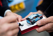 5th October 2017, Costa Daurada, Salou, Spain; FIA World Rally Championship, RallyRACC Catalunya, Spanish Rally; Thierry NEUVILLE - Nicolas GILSOUL of Hyundai Motorsport signs a model car