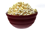 bowl of popcorn on shadowless white background