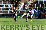 Kerry Stephen O'Brien gets his shot away from Ryan McAnespie Monaghan  during their NFL clash in Fitzgerald Stadium on Sunday