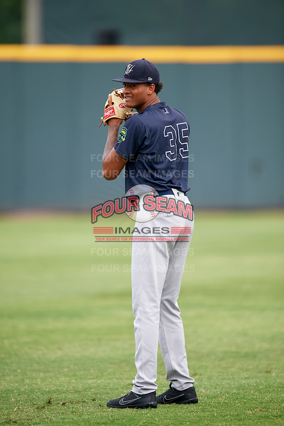 Pulaski Yankees pitcher Luis Gil (35) warms up before a game against the Greeneville Reds on July 27, 2018 at Pioneer Park in Tusculum, Tennessee.  Greeneville defeated Pulaski 3-2.  (Mike Janes/Four Seam Images)