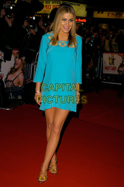 """CARMEN ELECTRA.At the UK Premiere of """"I Want Candy"""", .Vue Cinema West End, Leicester Square, .London, England, March 20th 2007..full length turquoise dress gold shoes .CAP/CAN.©Can Nguyen/Capital Pictures"""