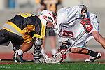 Palos Verdes, CA 03/31/10 - Ryan Brothers (PV # 18) and Lorenzo Nunziati (Peninsula # 25) in action during the Peninsula-Palos Verdes Junior Varsity Lacrosse game at Palos Verdes High School.  Palos Verdes defeated Peninsula.