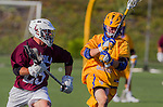 Costa Mesa, CA 03/08/14 - Michael Hanover (LMU #25) and Sam Simmons (UCSB #1) in action during the MCLA Loyola Marymount vs UC Santa Barbara men's lacrosse game as part of the 2014 Pacific Shootout.  UCSB defeated LMU 12-7 at Le Bard Stadium.