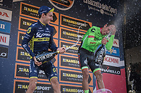 champaign battle on the finish podium between race winner Rigoberto Uran (COL/Cannondale-Drapac) &amp; runner-up Adam Yates (GBR/Orica-Scott)<br /> <br /> 98th Milano - Torino 2017 (ITA) 186km