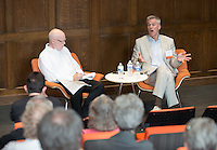 Alumni attend a talk between Bill Davis '80 and Jim Burns as part of The Liberal Arts Education and Journalism in Choi Auditorium on Saturday, June 13, 2015. The talk was part of Occidental College's annual Alumni Reunion. <br /> (Photo by Marc Campos, Occidental College Photographer)