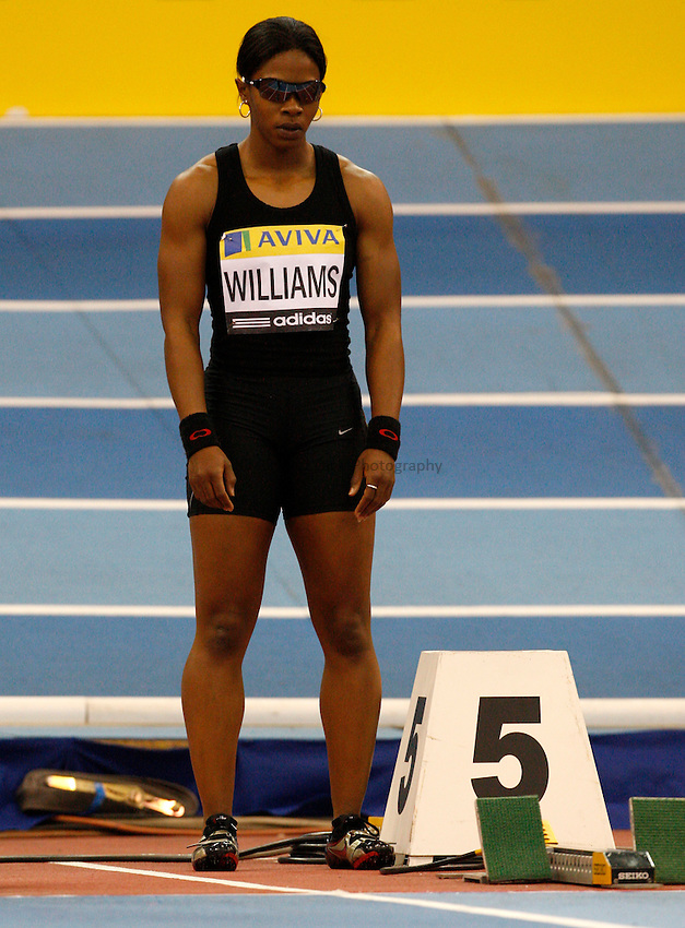 Photo: Richard Lane/Richard Lane Photography..Aviva Grand Prix. 21/02/2009. USA's Angela Williams in a women's 60m heat.