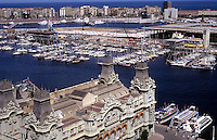 Aerial of city. Port of Barcelona Yacht Club, Barcelona, Spain