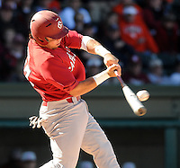 USC first baseman Nick Ebert (47) hits during a game between the Clemson Tigers and South Carolina Gamecocks Saturday, March 6, 2010, at Fluor Field at the West End in Greenville, S.C. Ebert is ranked No. 27 senior prospect in the nation by Baseball America. Photo by: Tom Priddy/Four Seam Images