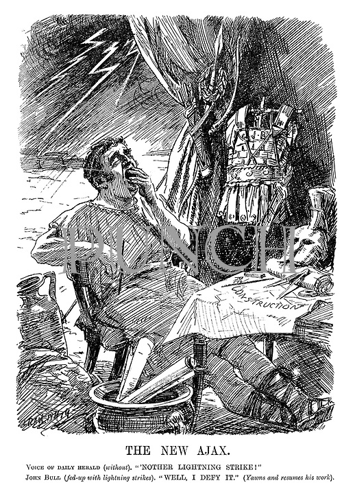 """The New Ajax. Voice of Daily Herald (without). """"'Nother lightning strike!"""" John Bull (fed up with lightning strikes). """"Well, I defy it."""" (Yawns and resumes his work). (John Bull as a Roman centurion while working on his Construction plans)"""