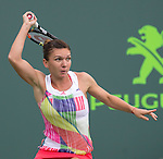March 29 2016: Simone Halep (ROU) loses to Timea Bacsinszky (SUI) 4-6, 6-3, 6-2, at the Miami Open being played at Crandon Park Tennis Center in Miami, Key Biscayne, Florida. ©Karla Kinne/Tennisclix/Cal Sports Media