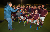 Hutt coach Peter Miskimmin congratulates his team for winning the Wellington premier men's hockey final between Dalefield and Hutt at The National Hockey Stadium, Wellington, New Zealand on Saturday, 12 August 2017. Photo: Dave Lintott / lintottphoto.co.nz