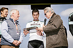 Presentation to defending champion Peter Sagan (SVK) Bora-Hansgrohe at the team presentations in Compiegne before Paris-Roubaix 2019, Compuiegne, France. 13th April 2019<br /> Picture: ASO/Pauline Ballet | Cyclefile<br /> All photos usage must carry mandatory copyright credit (© Cyclefile | ASO/Pauline Ballet)