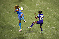 Orlando, FL - Saturday July 16, 2016: Casey Short, Jasmyne Spencer during a regular season National Women's Soccer League (NWSL) match between the Orlando Pride and the Chicago Red Stars at Camping World Stadium.