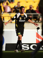 Troy Hearsfield shows his displeasure at a call during the A-League match between Wellington Phoenix and Newcastle Jets at Westpac Stadium, Wellington, New Zealand on Sunday, 4 January 2009. Photo: Dave Lintott / lintottphoto.co.nz