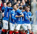 28.04.2019 Rangers v Aberdeen: Scott Arfield leads the celebrations