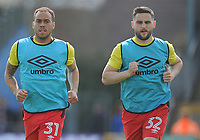 Blackburn Rovers' Elliott Bennett and Craig Conway during the pre-match warm-up <br /> <br /> Photographer Ashley Crowden/CameraSport<br /> <br /> The EFL Sky Bet League One - Bristol Rovers v Blackburn Rovers - Saturday 14th April 2018 - Memorial Stadium - Bristol<br /> <br /> World Copyright &copy; 2018 CameraSport. All rights reserved. 43 Linden Ave. Countesthorpe. Leicester. England. LE8 5PG - Tel: +44 (0) 116 277 4147 - admin@camerasport.com - www.camerasport.com