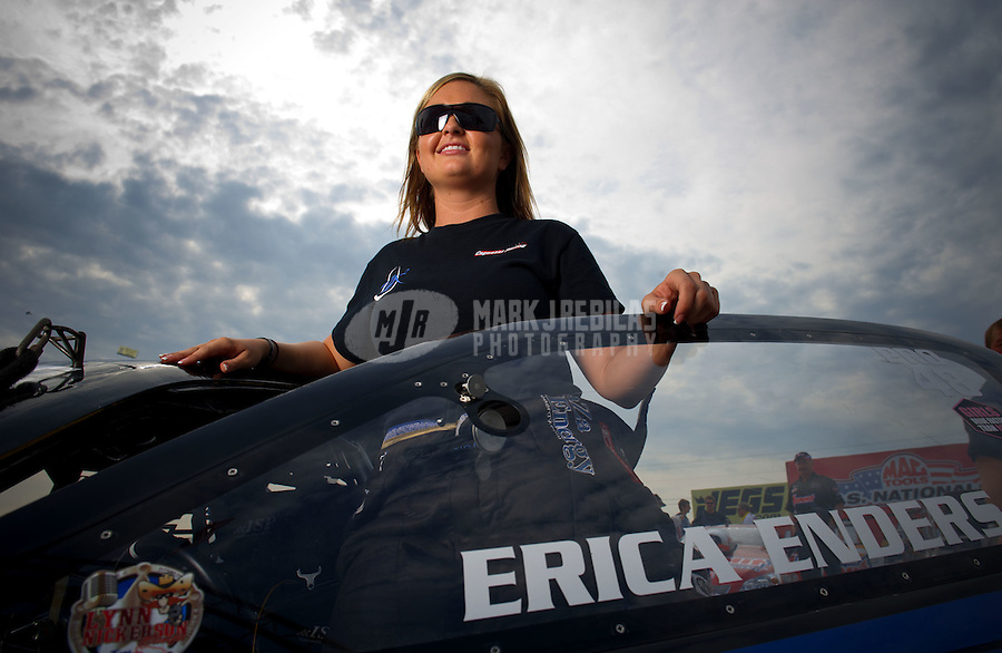 Sept. 4, 2011; Claremont, IN, USA: NHRA pro stock driver Erica Enders during qualifying for the US Nationals at Lucas Oil Raceway. Mandatory Credit: Mark J. Rebilas-