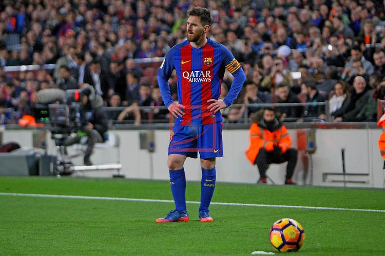 League Santander 2016/2017. Game: 25.<br /> FC Barcelona vs Real Sporting SAD: 6-1.<br /> Lionel Messi.