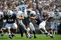 07 September 2013:  Penn State DT Austin Johnson (99) pressures the QB. The Penn State Nittany Lions defeated the Eastern Michigan Eagles 45-7 at Beaver Stadium in State College, PA.
