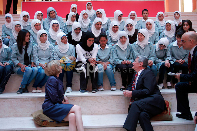 German President Joachim Gauck and Daniela Schadt, German journalist and partner of German President meet schoolgirls during the inauguration of a new girls school in the West Bank village of Burin, Thursday, May 31, 2012. Photo by Wagdi Eshtayah