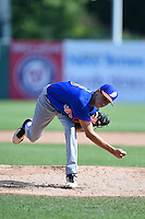 Austin Reich (16) of Brusly High School in Saint Francisville, Louisiana playing for the New York Mets scout team during the East Coast Pro Showcase on August 2, 2014 at NBT Bank Stadium in Syracuse, New York.  (Mike Janes/Four Seam Images)